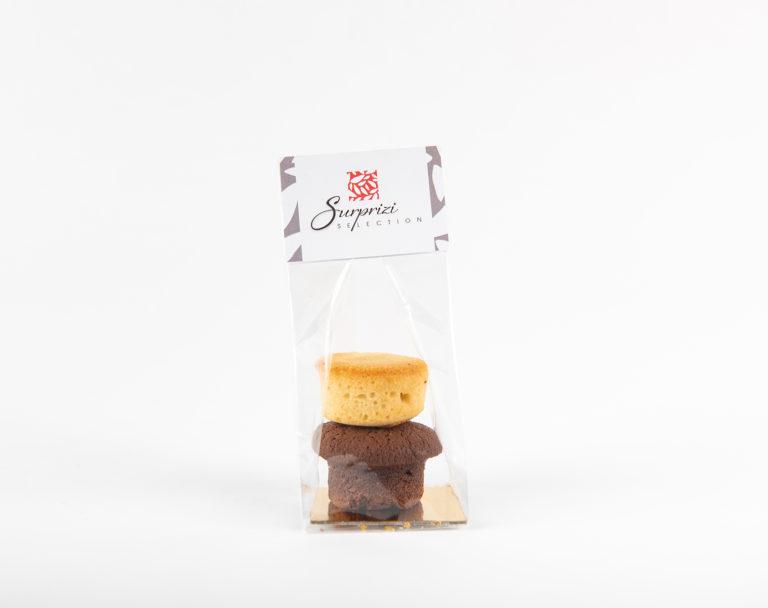 Surprizi : Nos coffrets cadeaux gourmands : Sachet avec votre logo  : Un financier nature et un moelleux au chocolat : 2,96€ HTVA