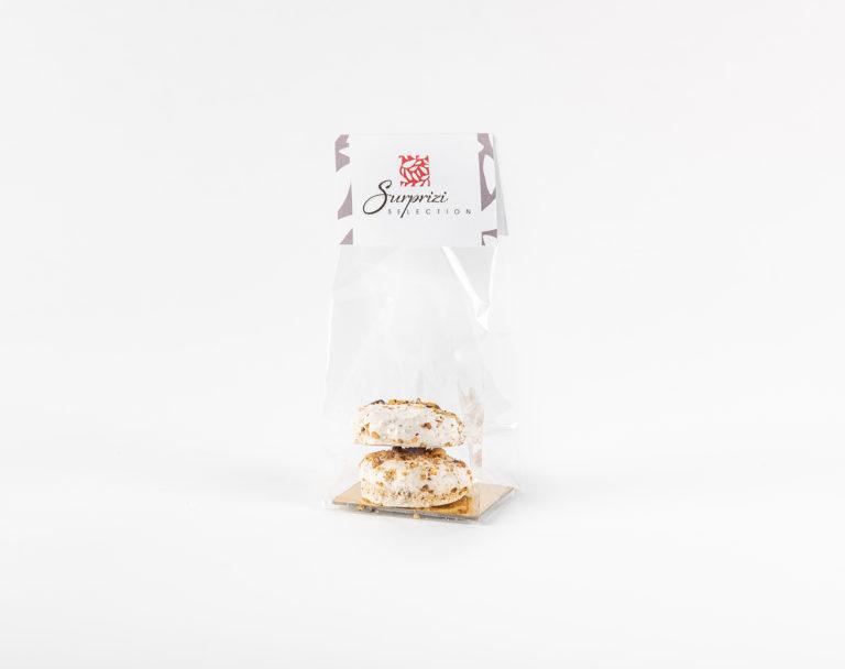 Surprizi : Nos coffrets cadeaux gourmands : Sachet avec votre logo : Deux meringues aux éclats de noisettes : 1,60€ HTVA